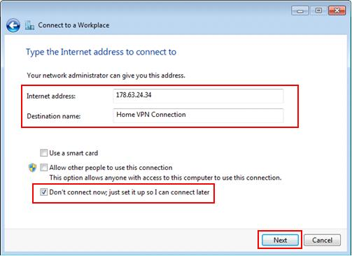 Windows 7 VPN server IP address