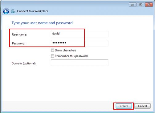 username password for PPTP VPN